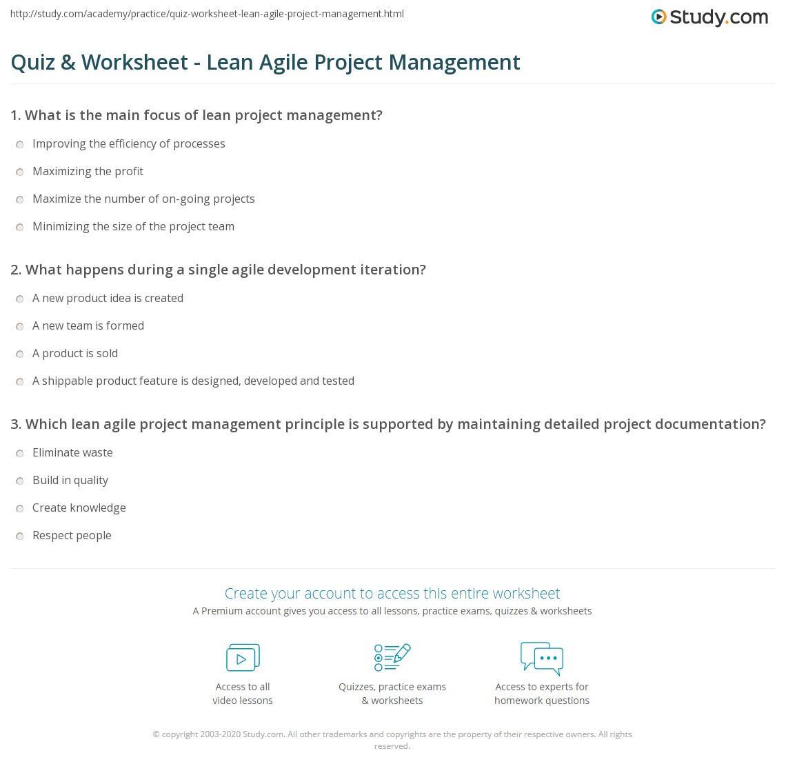 Quiz Worksheet Lean Agile Project Management Study