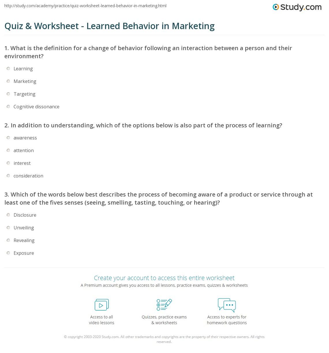 Quiz Worksheet Learned Behavior In Marketing Study