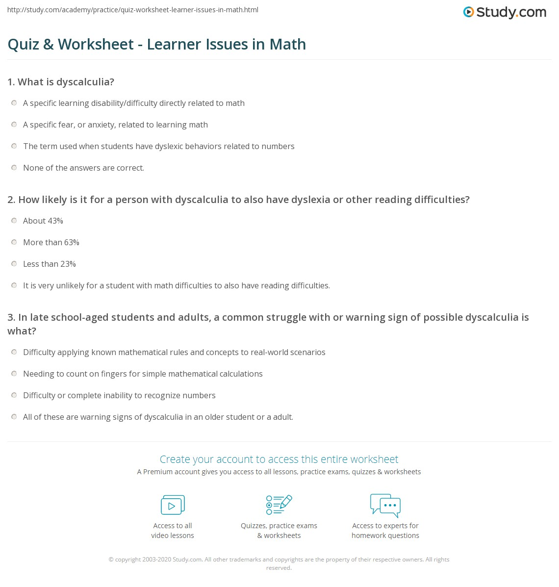 Quiz Worksheet Learner Issues In Math Study
