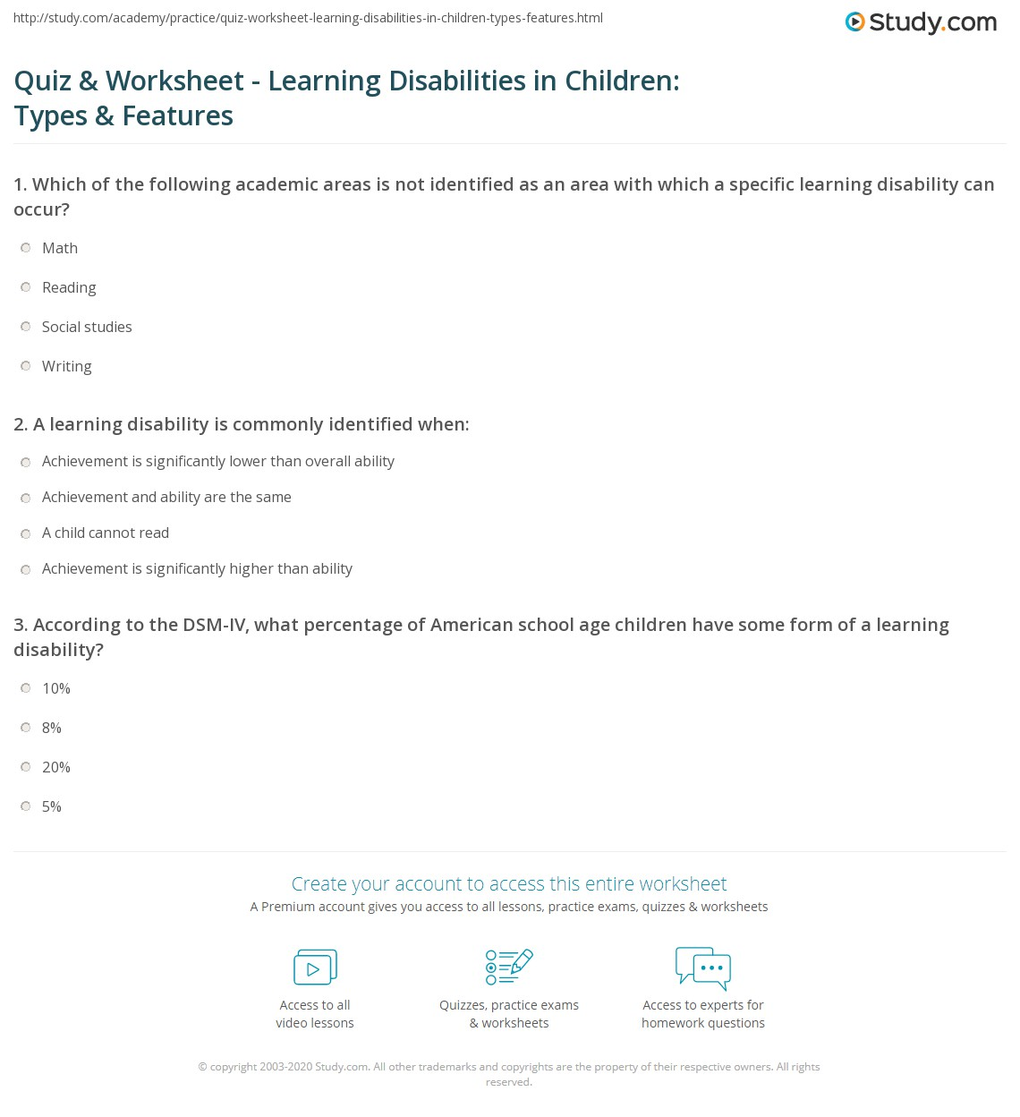 quiz & worksheet - learning disabilities in children: types