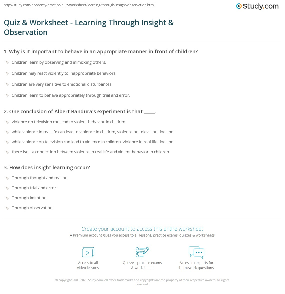 Quiz & Worksheet - Learning Through Insight & Observation | Study com