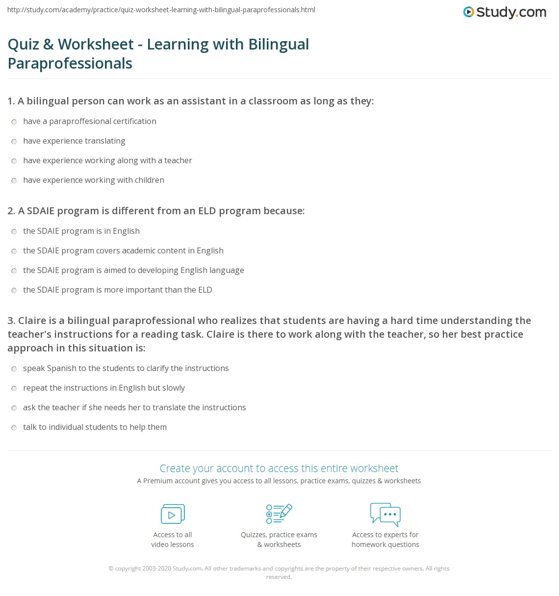 Quiz Worksheet Learning With Bilingual Paraprofessionals Study