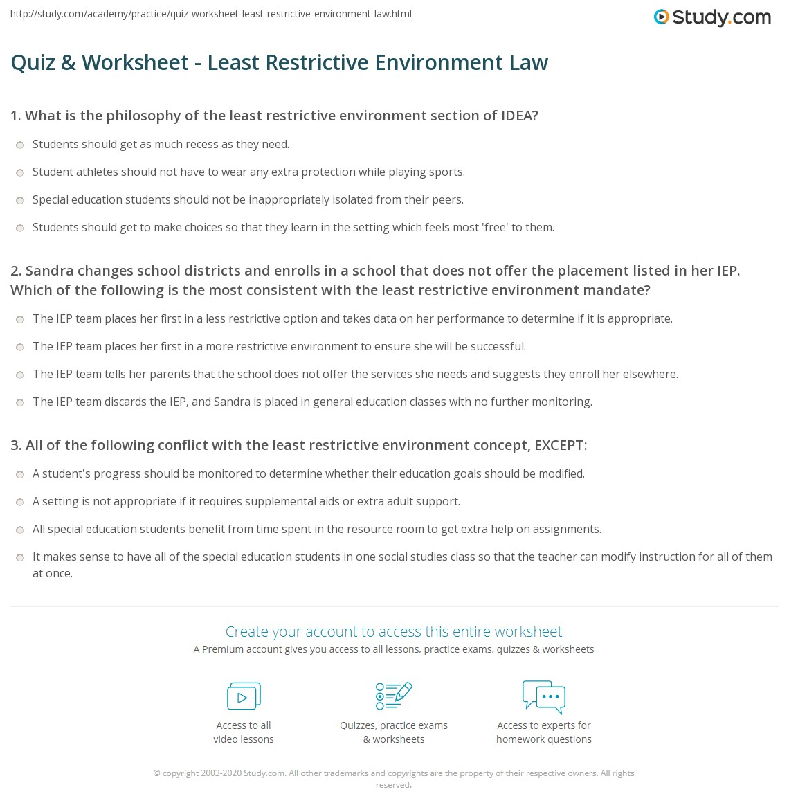 research papers on least restrictive environment