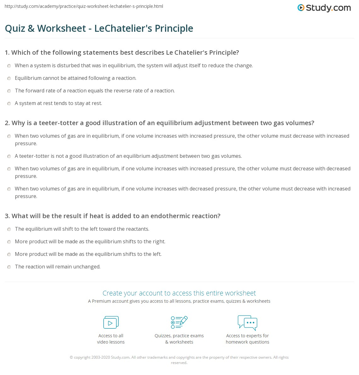 Quiz Worksheet LeChateliers Principle – Chemical Equilibrium Worksheet Answers