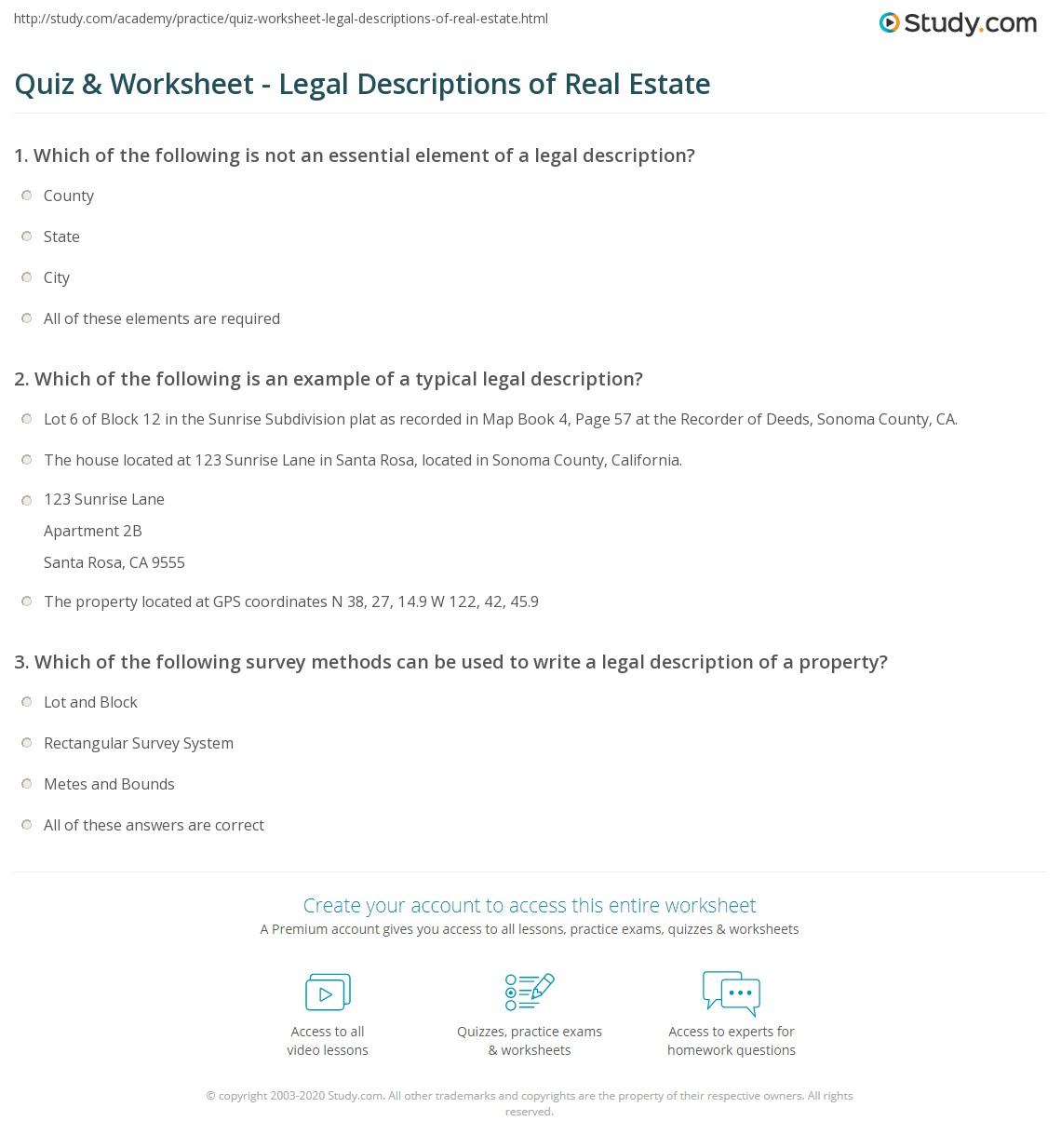 Quiz & Worksheet - Legal Descriptions of Real Estate | Study.com