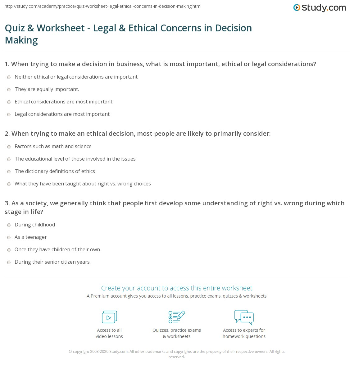 Quiz Worksheet Legal Ethical Concerns In Decision Making