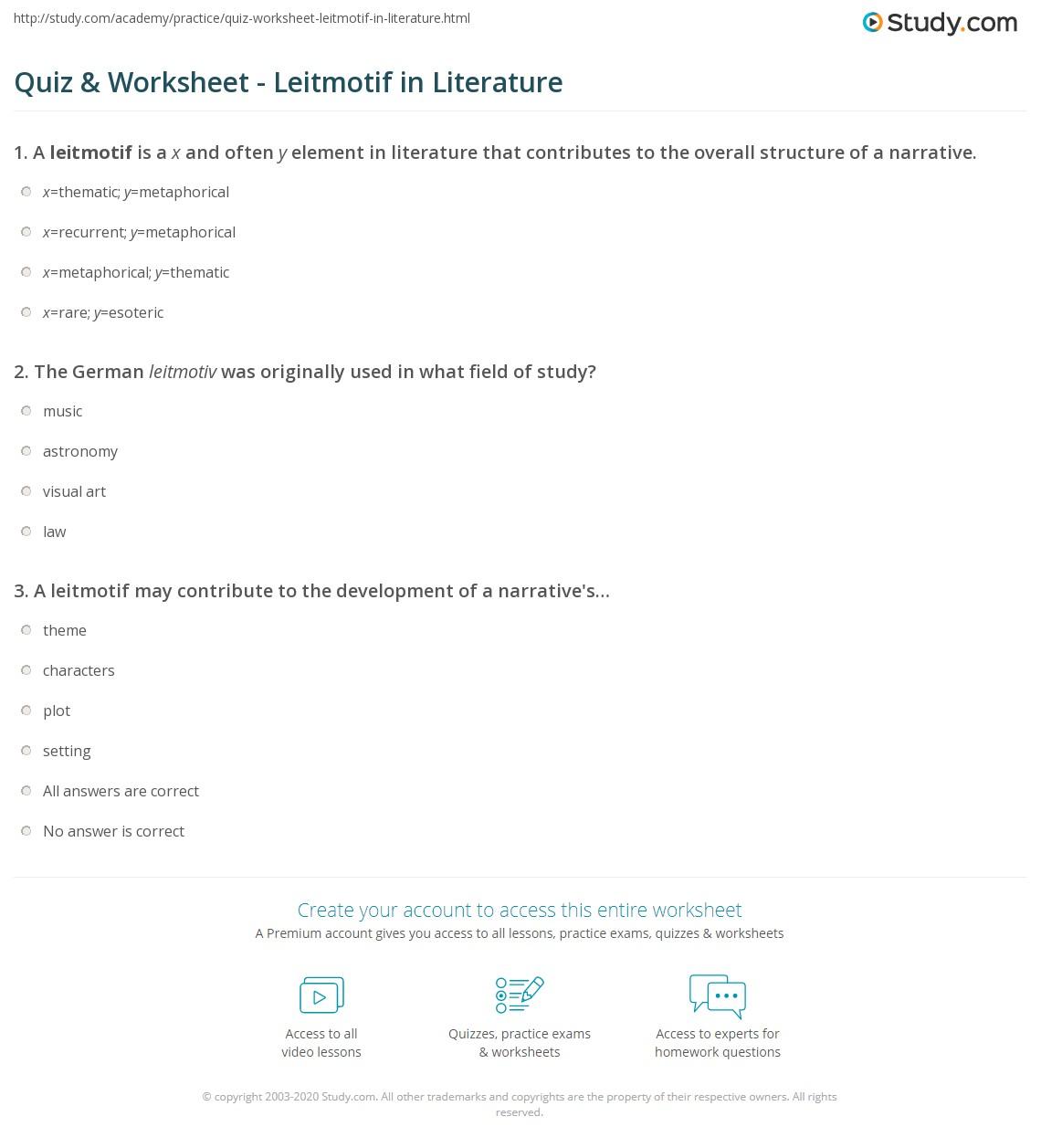 quiz & worksheet - leitmotif in literature | study