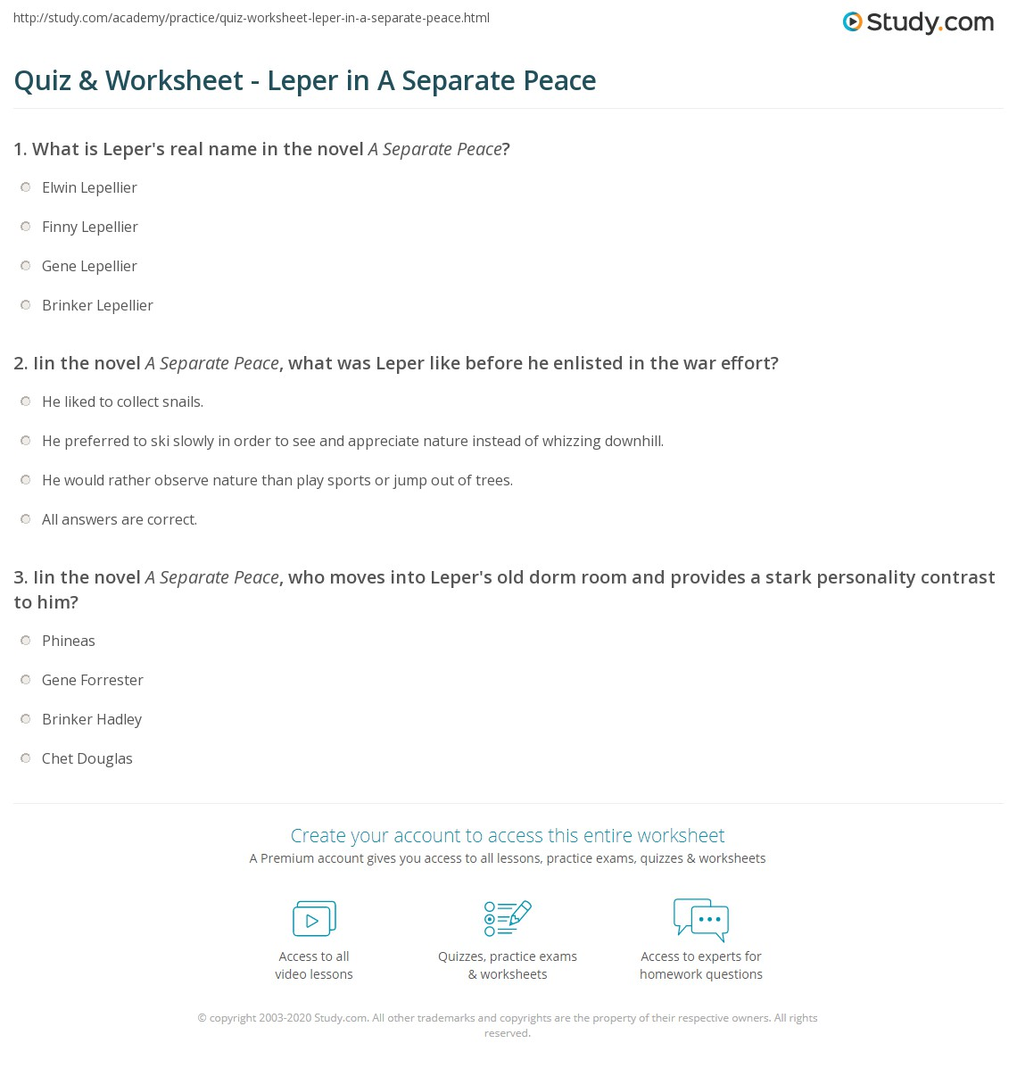 Quiz & Worksheet - Leper in A Separate Peace | Study.com