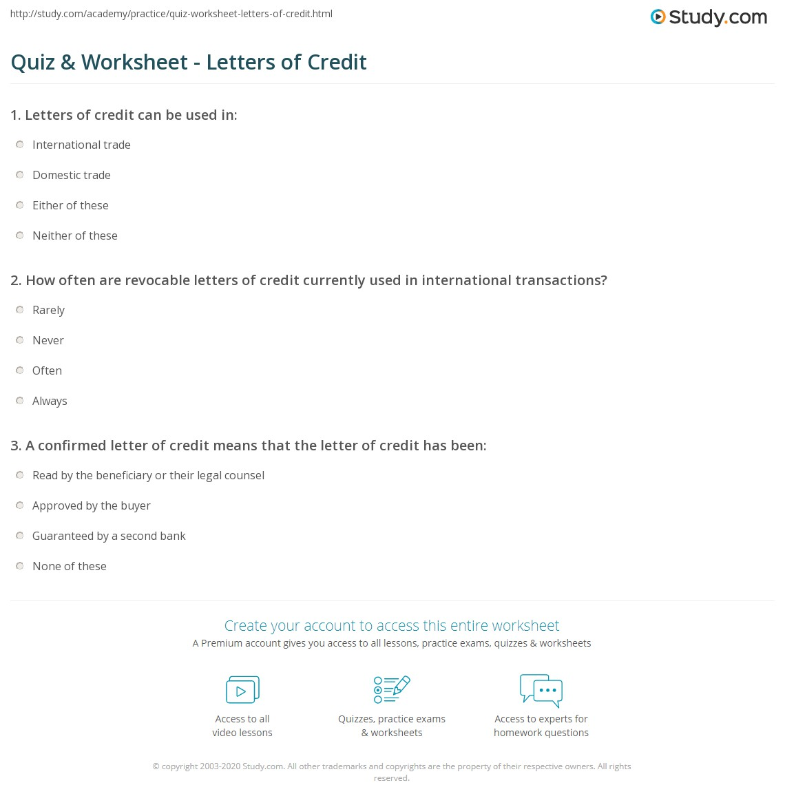 Print What Is A Letter Of Credit?   Definition, Types U0026 Example Worksheet
