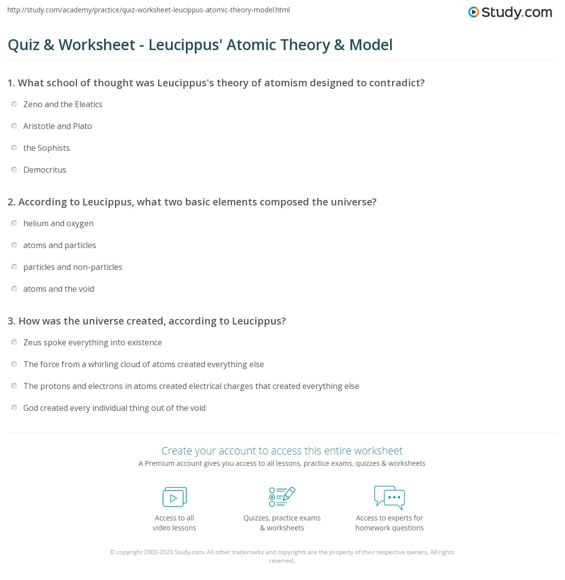 Worksheets Atomic Model Worksheet quiz worksheet leucippus atomic theory model study com print worksheet