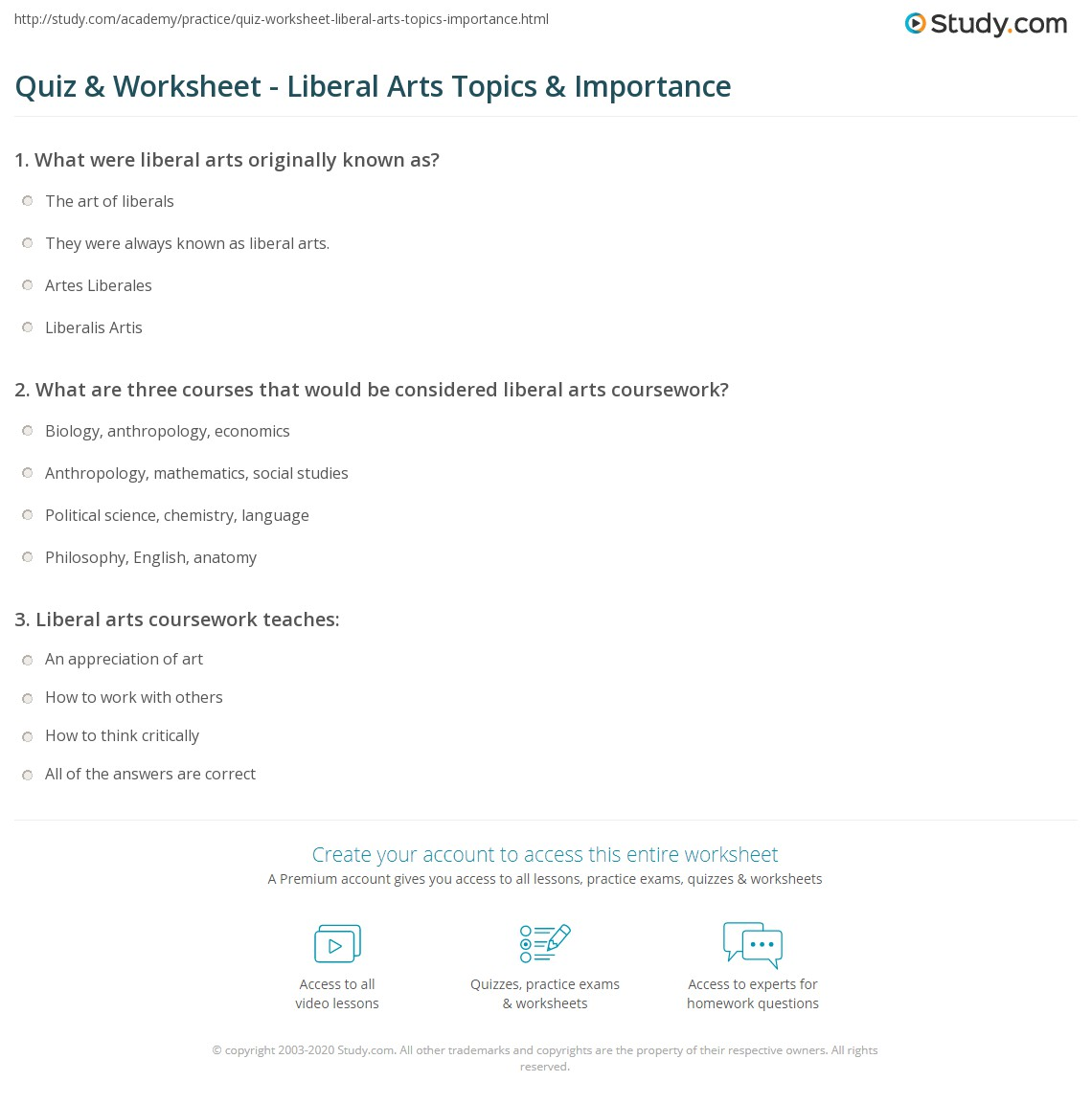 quiz & worksheet - liberal arts topics & importance | study