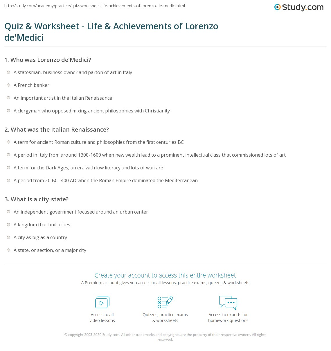 quiz worksheet life achievements of lorenzo de 39 medici. Black Bedroom Furniture Sets. Home Design Ideas
