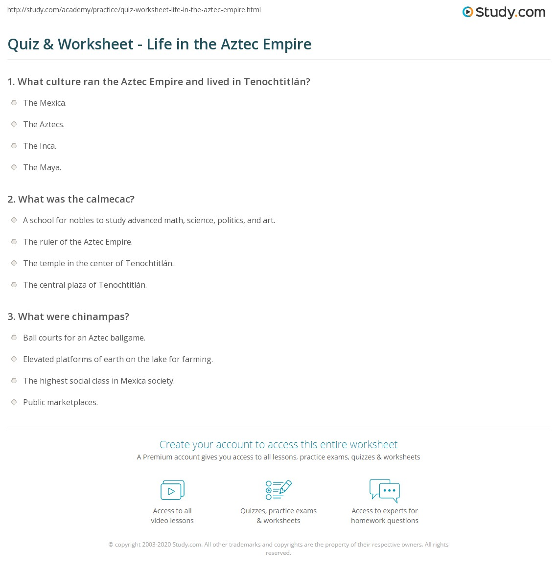 Quiz Worksheet Life In The Aztec Empire Study