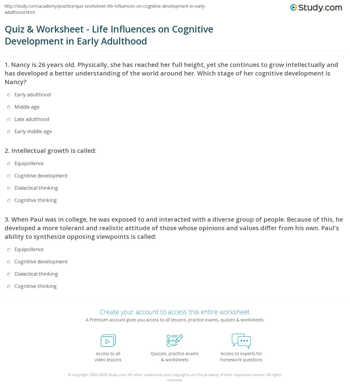 Quiz & Worksheet - Life Influences on Cognitive Development in Early ...