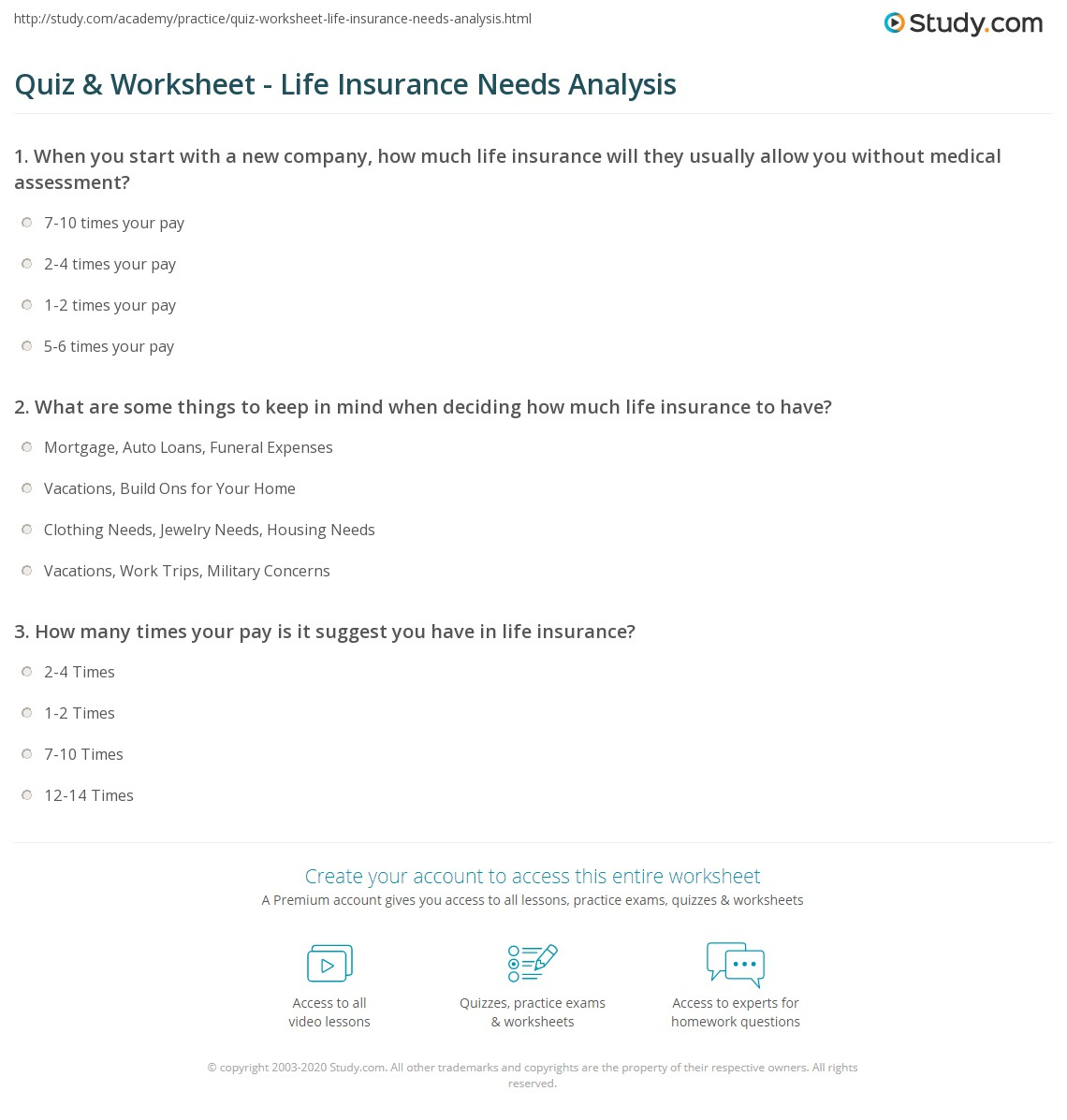 Quiz Worksheet Life Insurance Needs Analysis Study Com