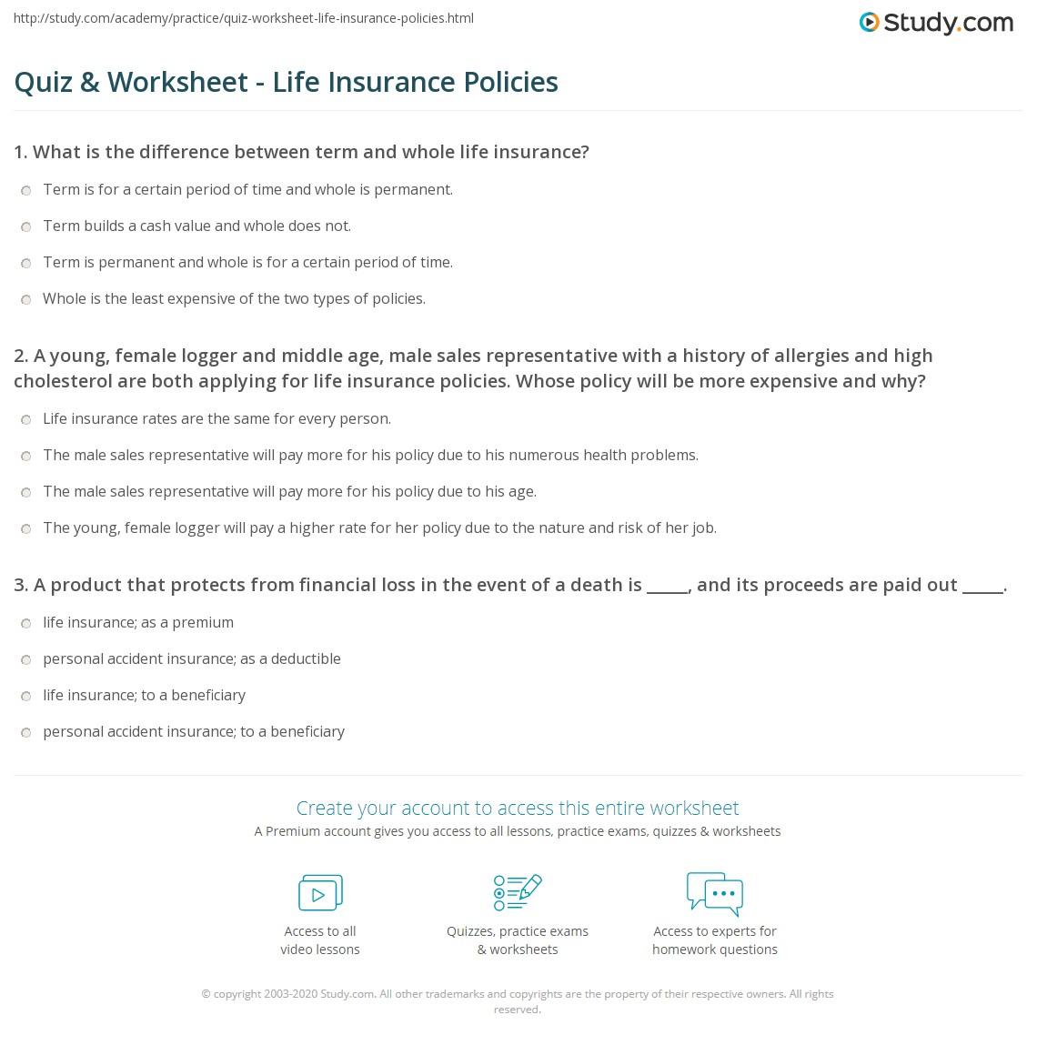 Quiz worksheet life insurance policies study a young female logger and middle age male sales representative with a history of allergies and high cholesterol are both applying for life insurance thecheapjerseys Image collections