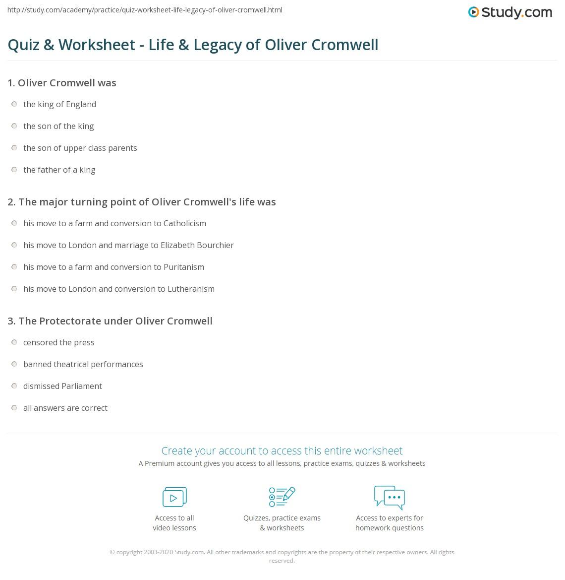 quiz worksheet life legacy of oliver cromwell com print oliver cromwell hero or villain facts timeline worksheet