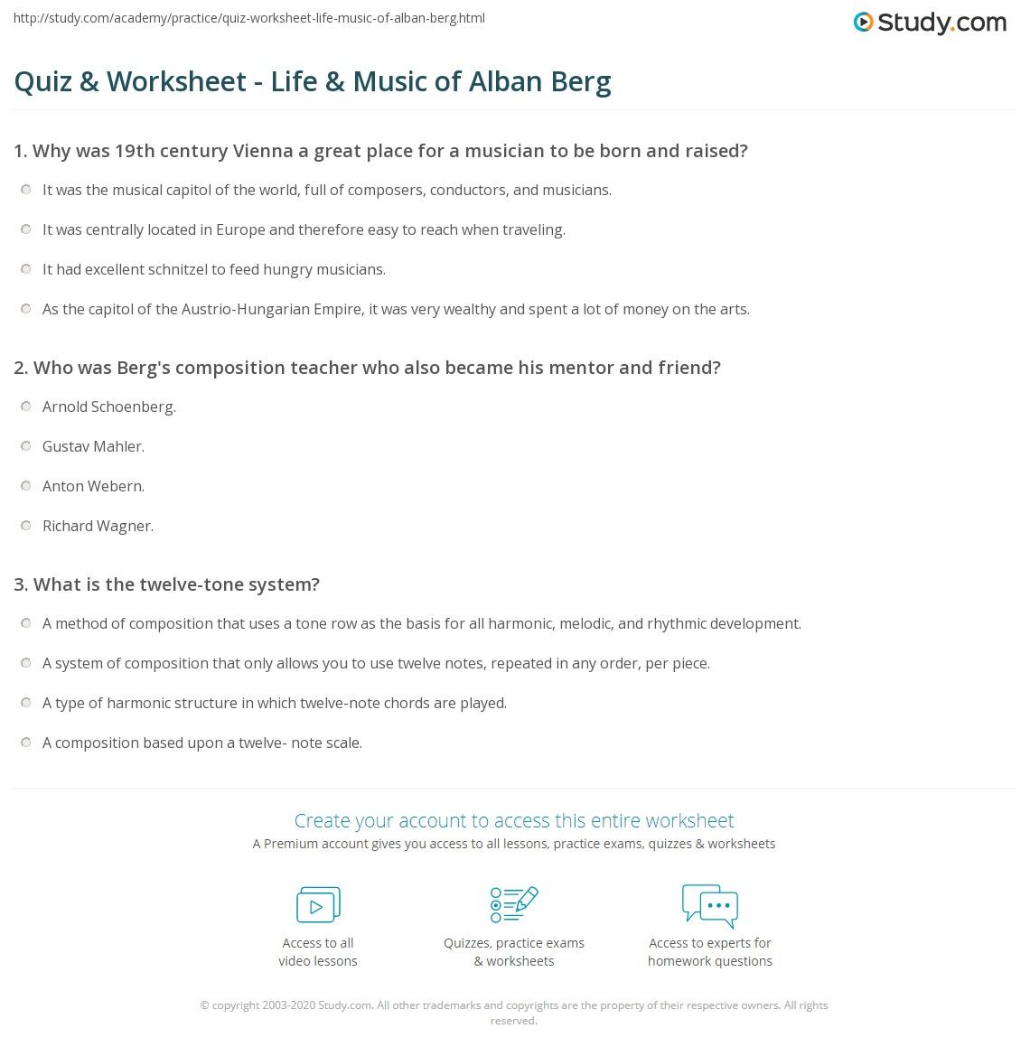 worksheet Music History Worksheets quiz worksheet life music of alban berg study com print biography worksheet