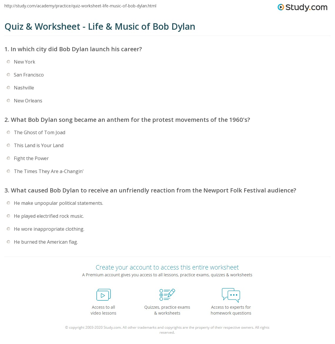 Quiz Worksheet Life Music of Bob Dylan – Song Analysis Worksheet