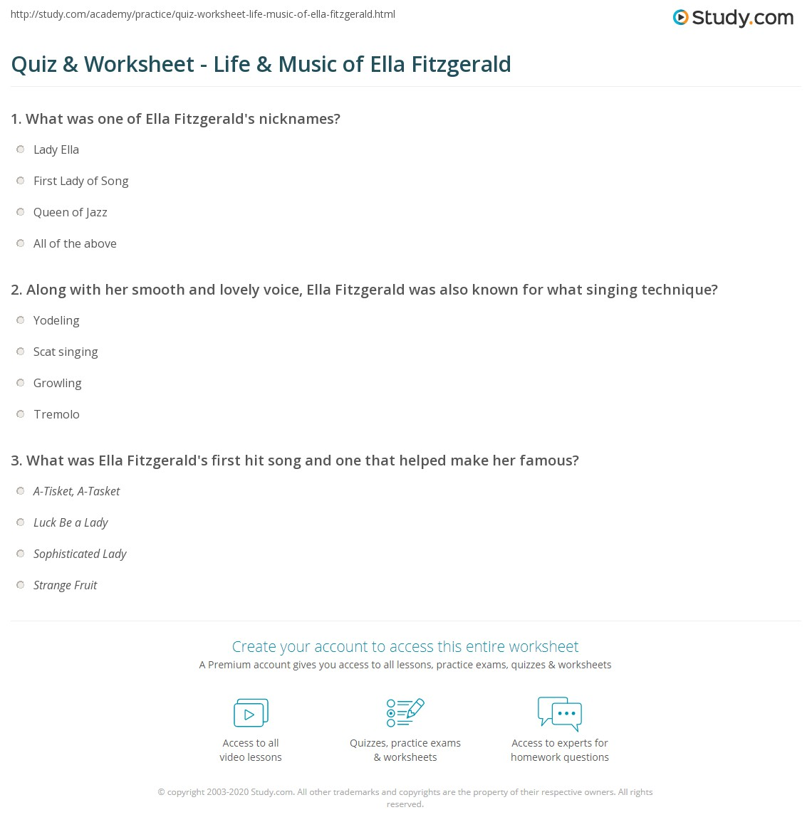 Quiz & Worksheet - Life & Music of Ella Fitzgerald | Study.com
