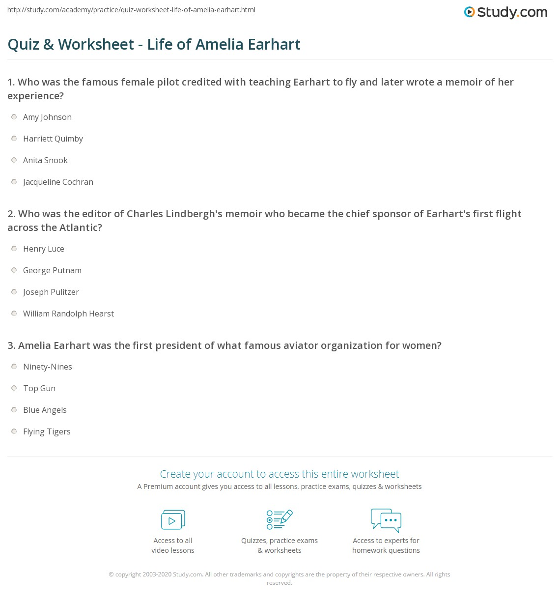 quiz worksheet life of amelia earhart com print amelia earhart quotes facts biography worksheet
