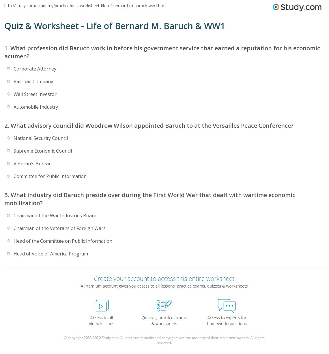 Quiz Worksheet Life Of Bernard M Baruch Ww1 Study
