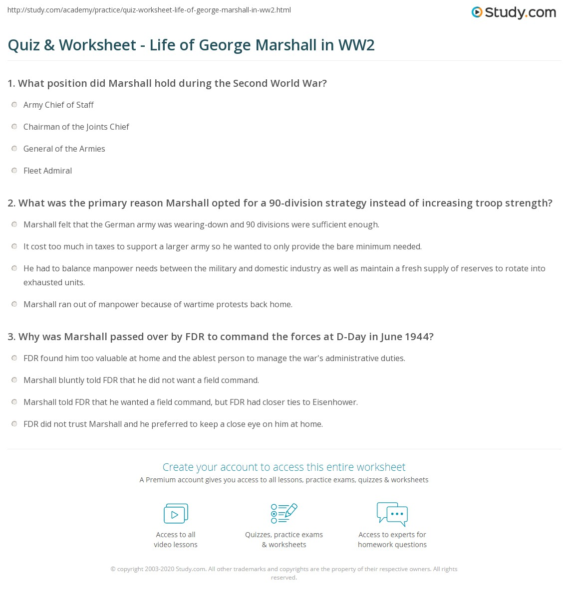 worksheet D Day Worksheet quiz worksheet life of george marshall in ww2 study com print c biography quotes worksheet