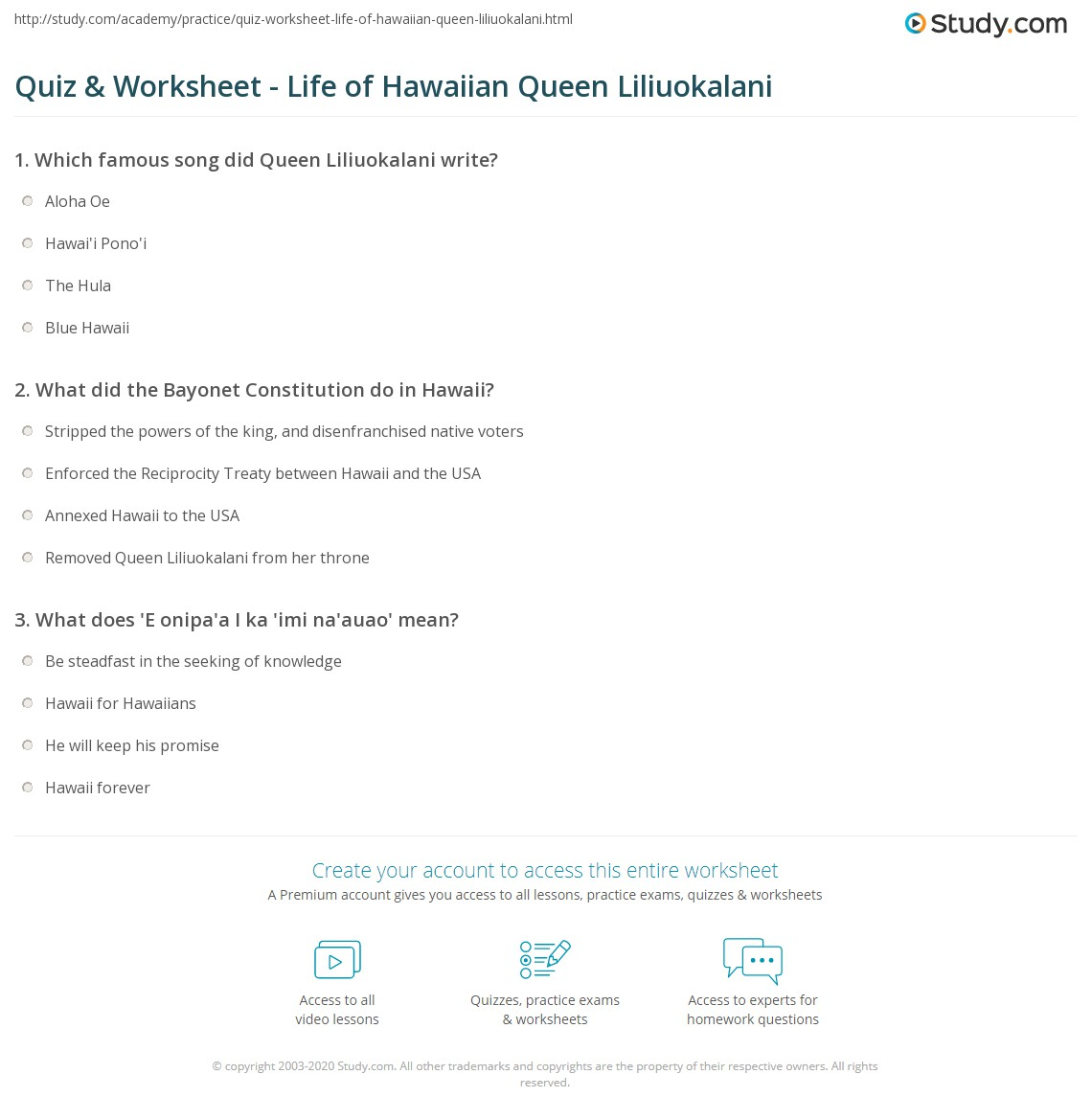 Quiz Worksheet Life of Hawaiian Queen Liliuokalani – Aloha Math Worksheets