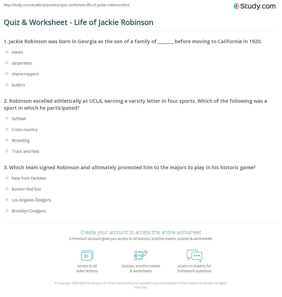 Quiz Worksheet Life Of Jackie Robinson Study Com