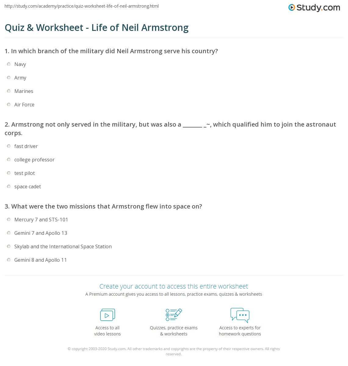Quiz & Worksheet - Life of Neil Armstrong | Study.com