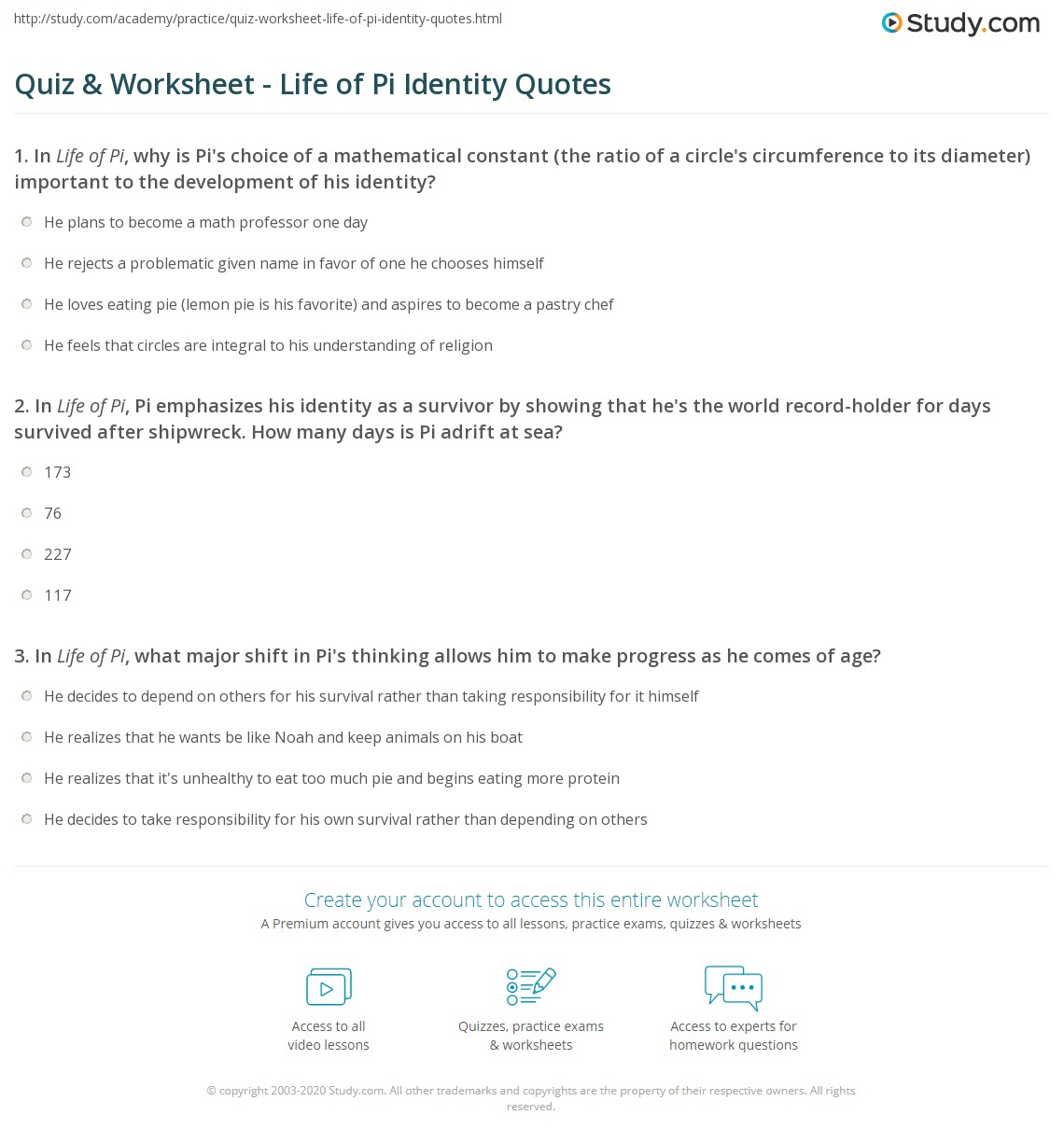 Quotes About Whats Important In Life Quiz & Worksheet  Life Of Pi Identity Quotes  Study