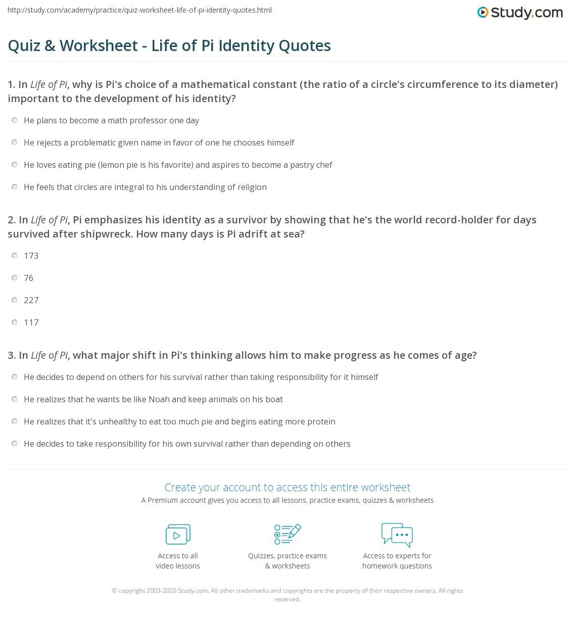 Quiz Worksheet Life Of Pi Identity Quotes Studycom