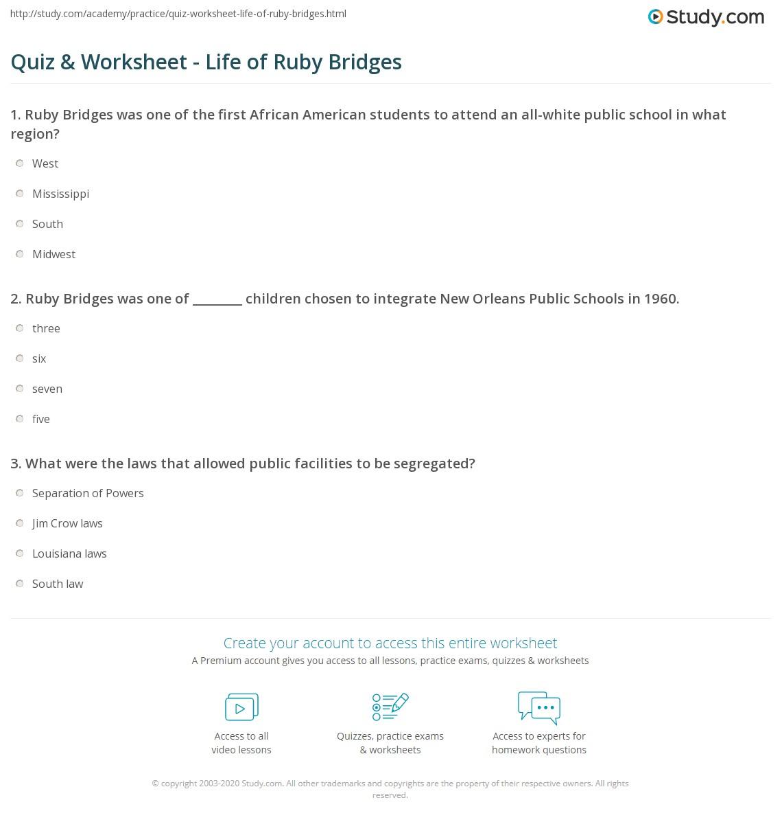 Quiz Worksheet Life Of Ruby Bridges Studycom
