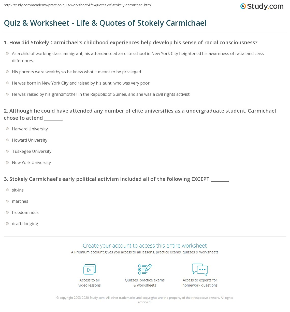 Quiz & Worksheet - Life & Quotes of Stokely Carmichael