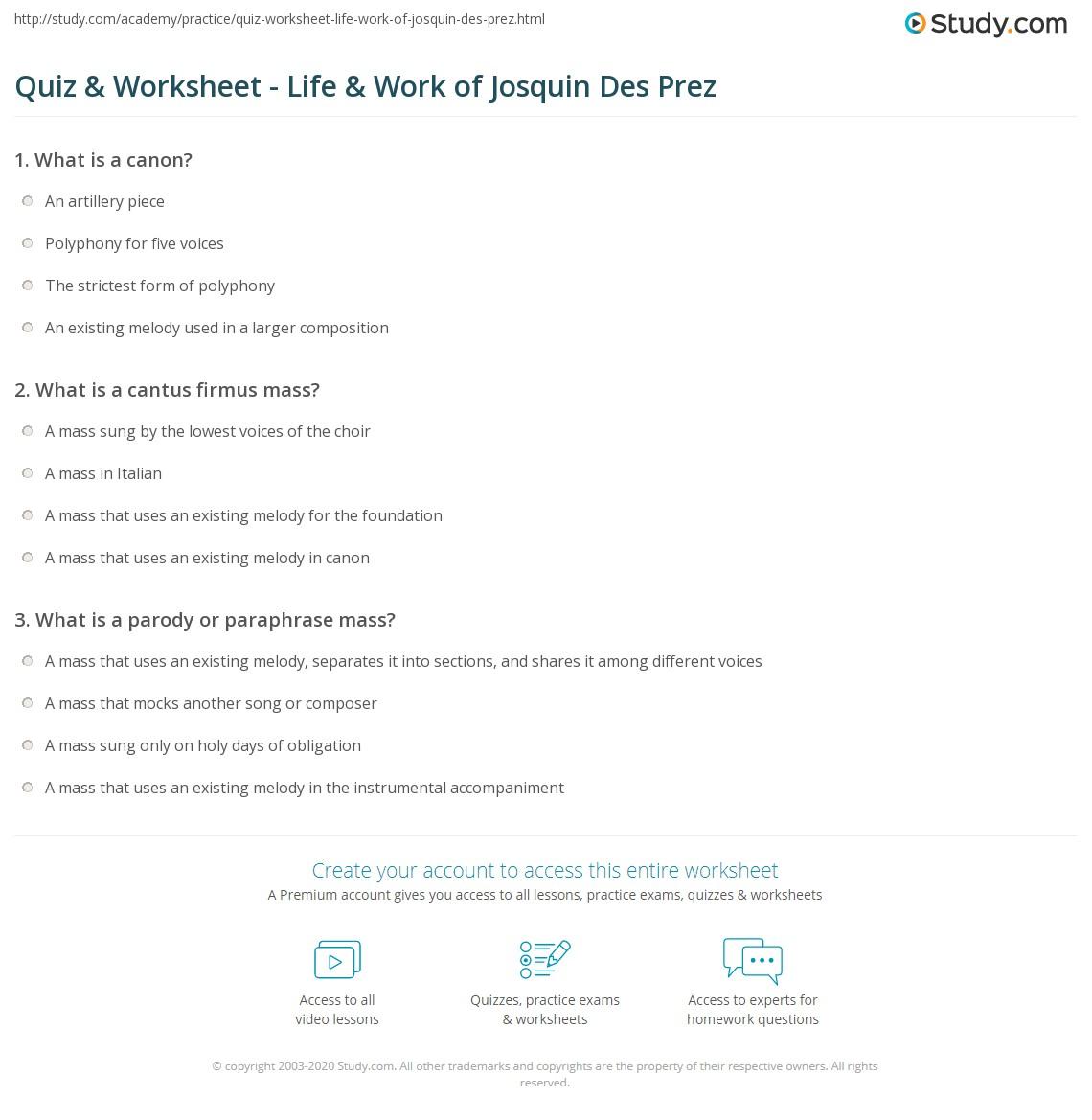 Quiz Worksheet Life Work Of Josquin De Prez Study Com Paraphrase Mas