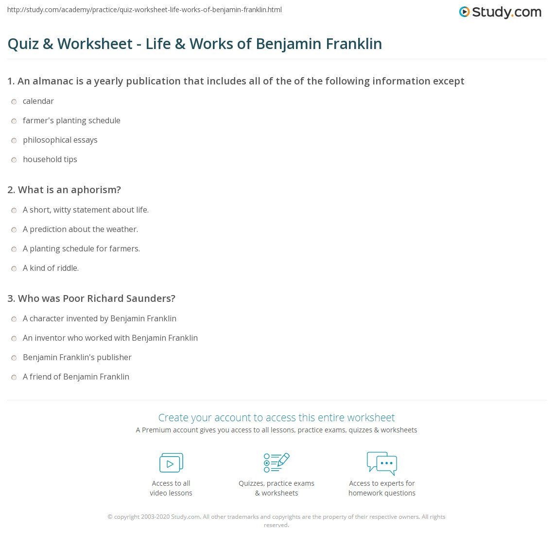 quiz worksheet life works of benjamin franklin. Black Bedroom Furniture Sets. Home Design Ideas