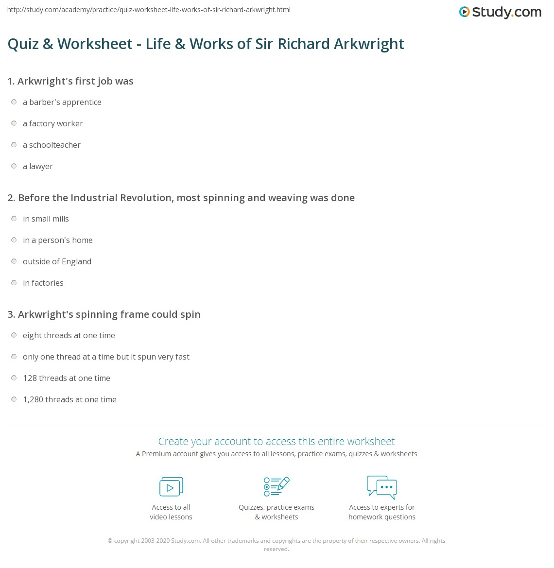 Quiz worksheet life works of sir richard arkwright study before the industrial revolution most spinning and weaving was done 1betcityfo Gallery