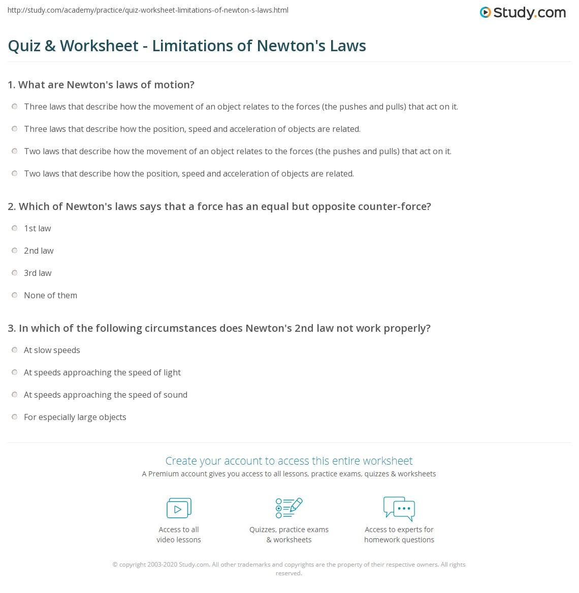 Worksheets Newtons Laws Worksheet quiz worksheet limitations of newtons laws study com print worksheet