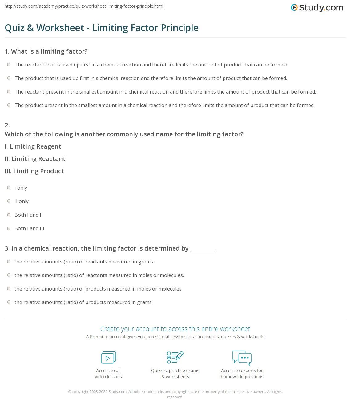 Worksheets Limiting Factors Worksheet quiz worksheet limiting factor principle study com print definition examples worksheet