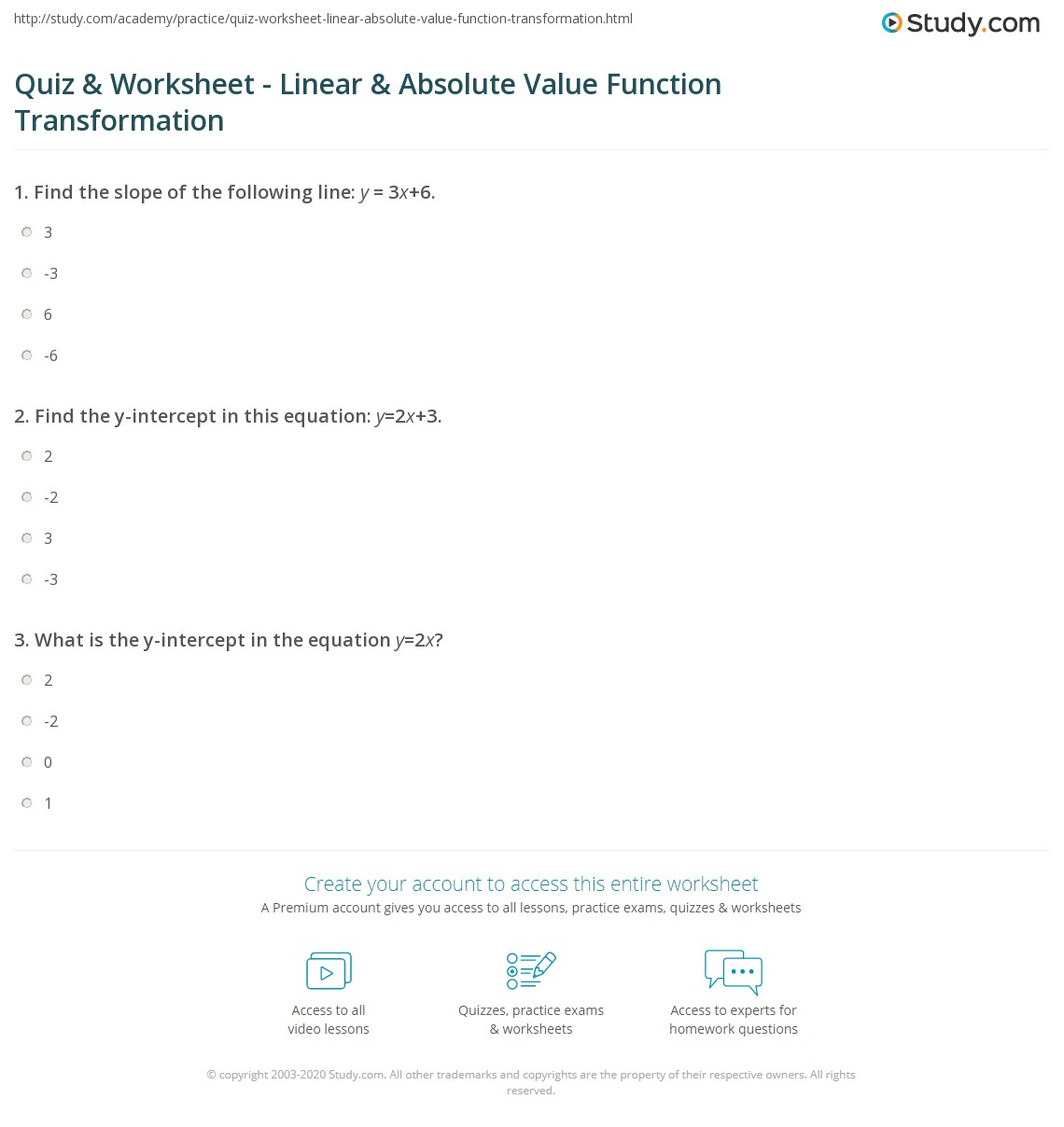 quiz & worksheet - linear & absolute value function transformation
