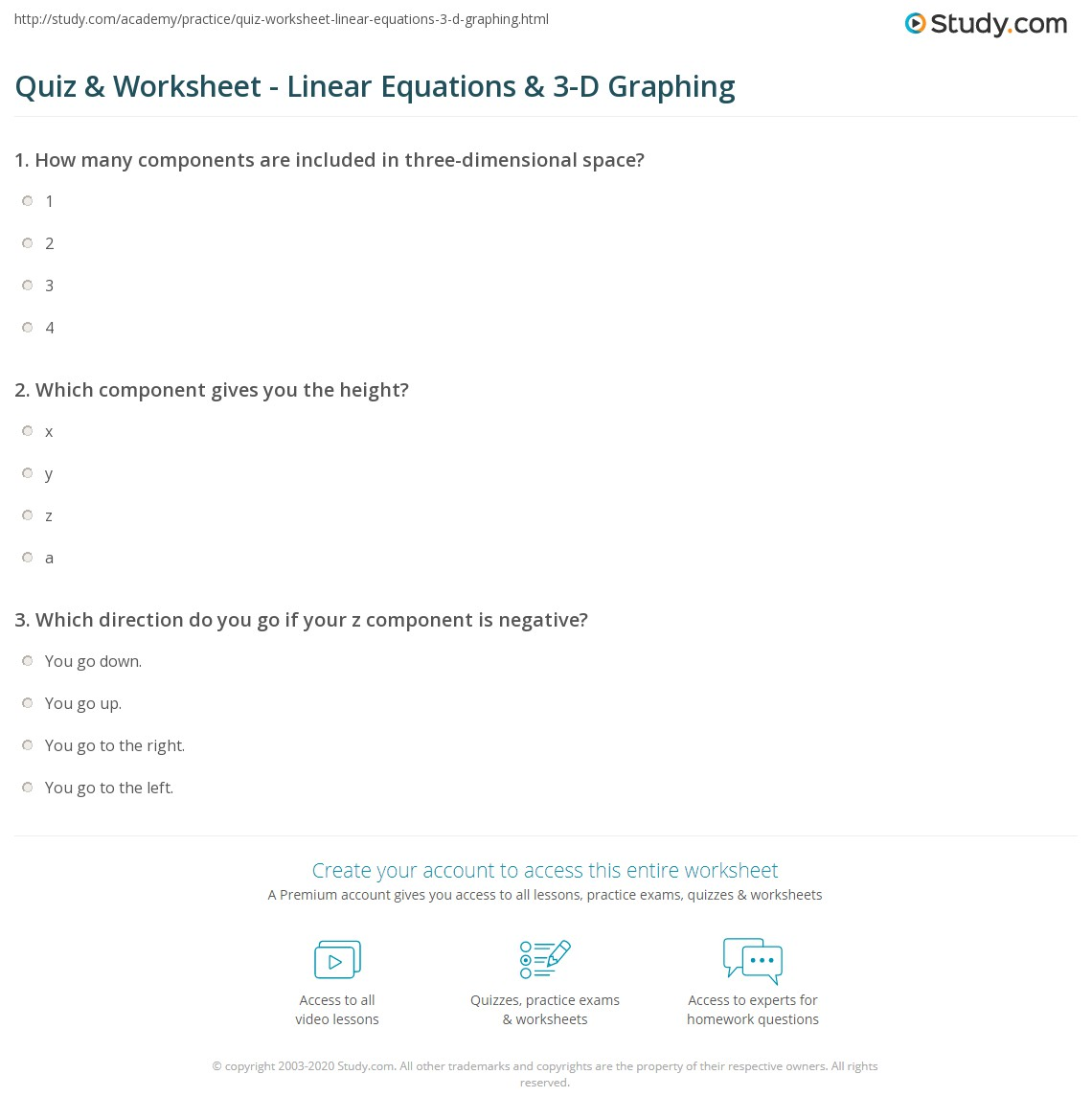 worksheet Graphing Equations Worksheets quiz worksheet linear equations 3 d graphing study com print points lines in three dimensions worksheet