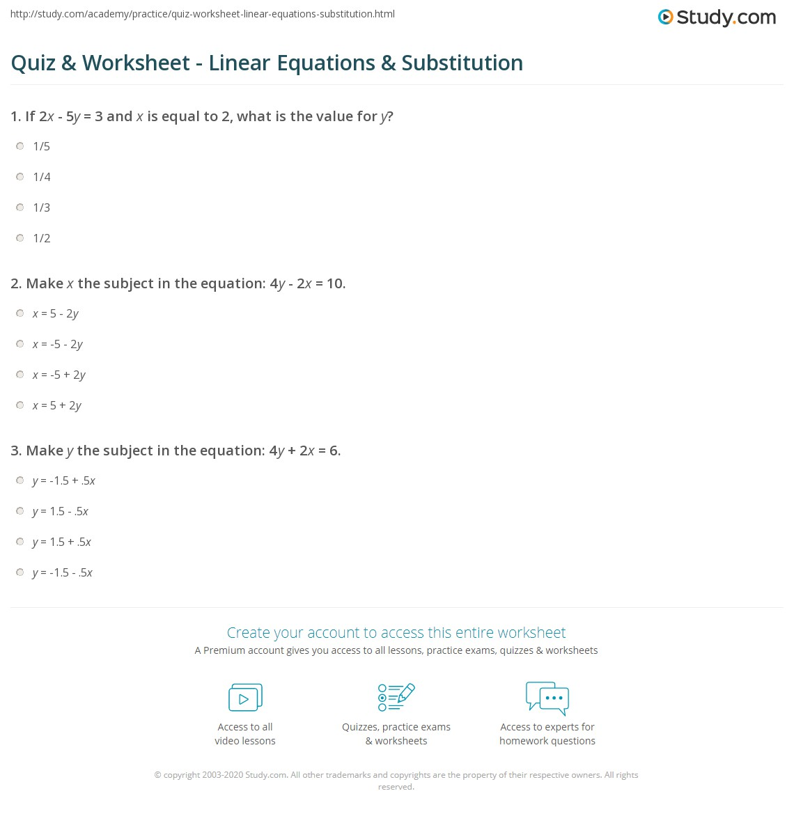 Quiz Worksheet Linear Equations Substitution Study
