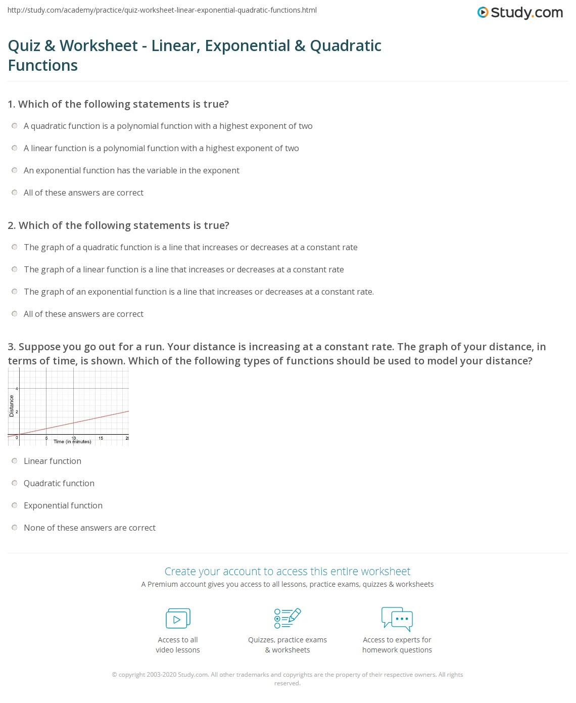 Quiz Worksheet Linear Exponential Quadratic