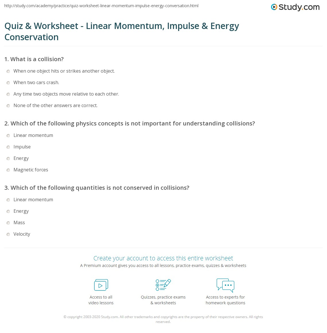 Quiz & Worksheet - Linear Momentum, Impulse & Energy Conservation ...