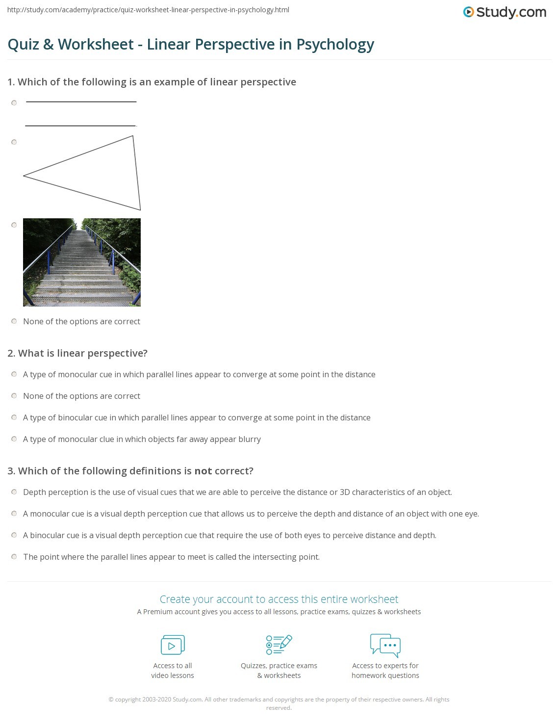 Quiz Worksheet Linear Perspective In Psychology Study