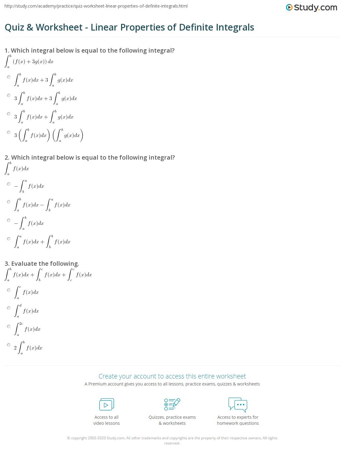 Definite Integral Worksheet – Total Money Makeover Worksheets