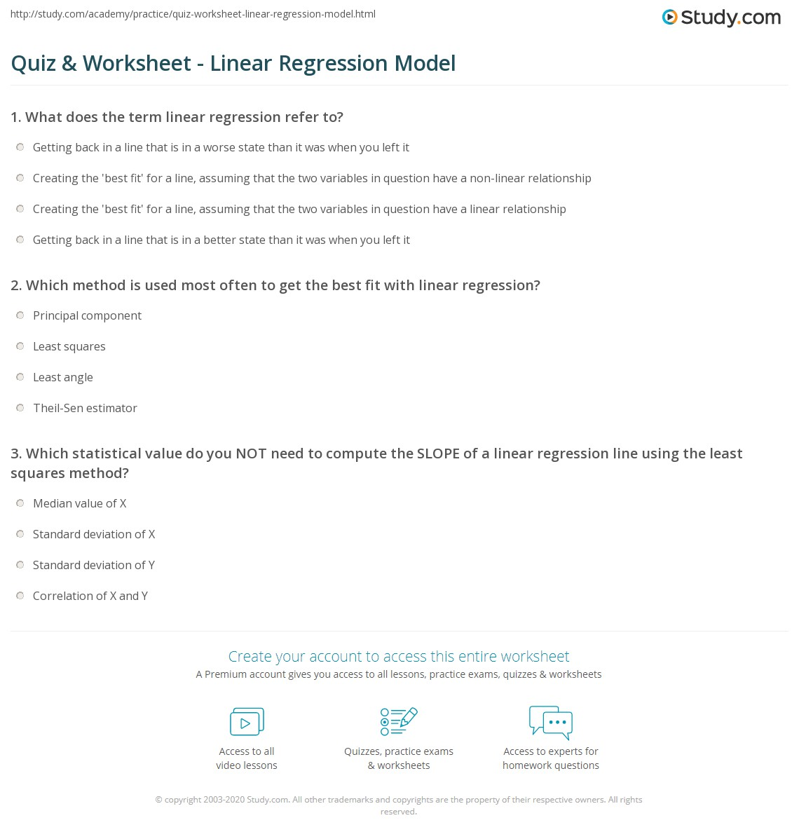 Quiz & Worksheet - Linear Regression Model | Study.com