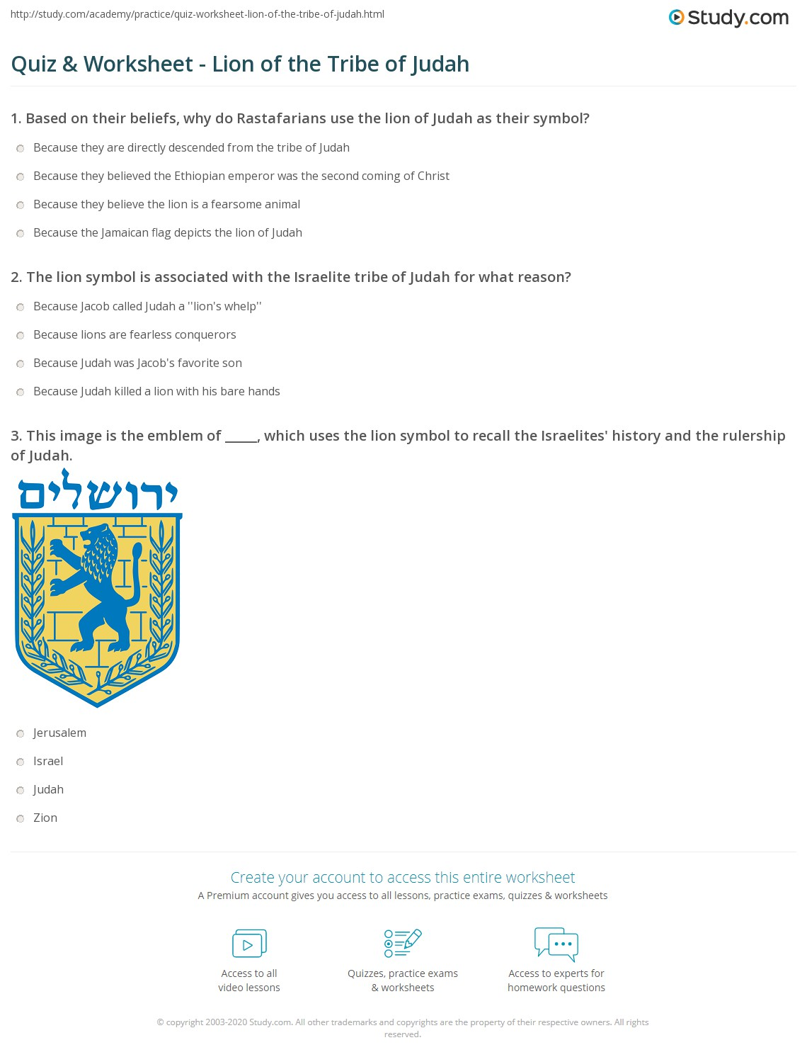 Quiz Worksheet Lion Of The Tribe Of Judah Study