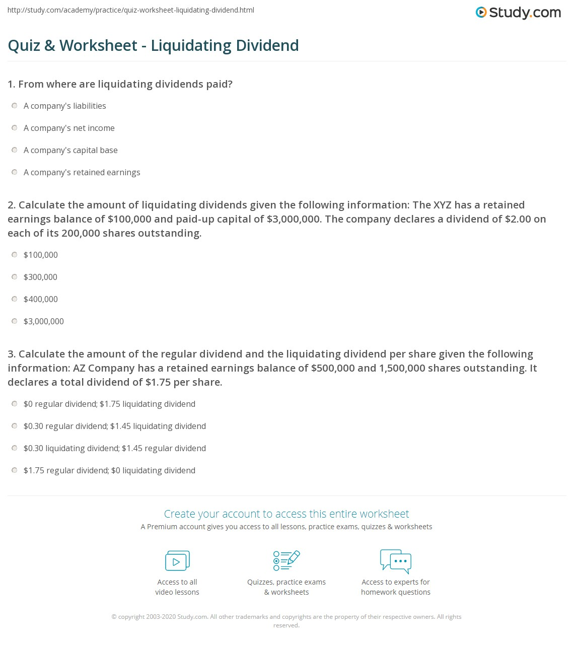 Liquidating dividend retained earnings