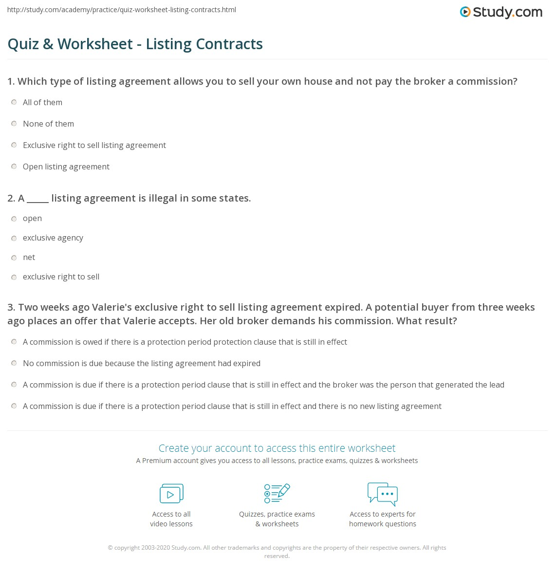 Quiz Worksheet Listing Contracts Study